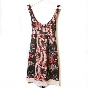 Free People Olive Green Floral Empire Waist Dress